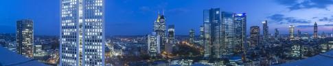 Frankfurt, Skyline, Dämmerung, Taunus Tower, Deutsche Bank, Green Tores, Commerzbank, Gebäude, Panorama,